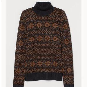 H&M jacquard knit turtleneck sweater snowflake